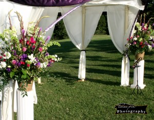 Reception Flowers by Tent
