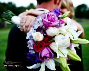 Hand Tied Bridal Bouquet designed with Lilly's and Roses